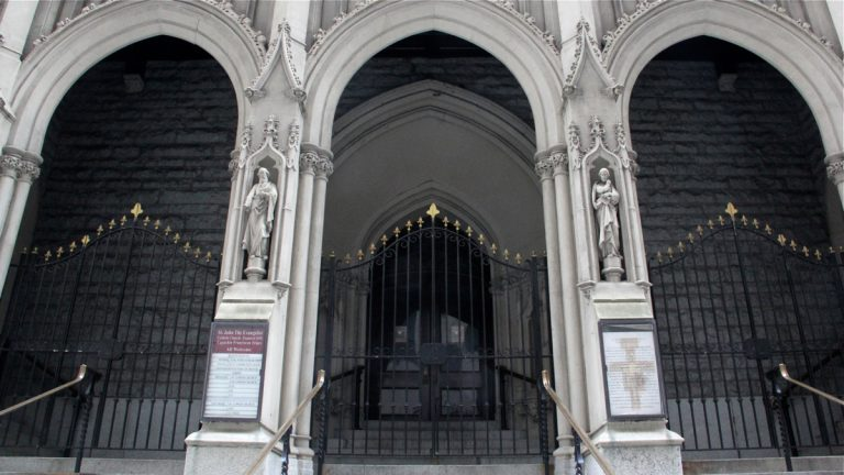 St. John the Evangelist Catholic Church in Center City has closed its doors to Equally Blessed, a coalition of gay and lesbian groups that had planned to host a workshop at the church. (Emma Lee/WHYY)