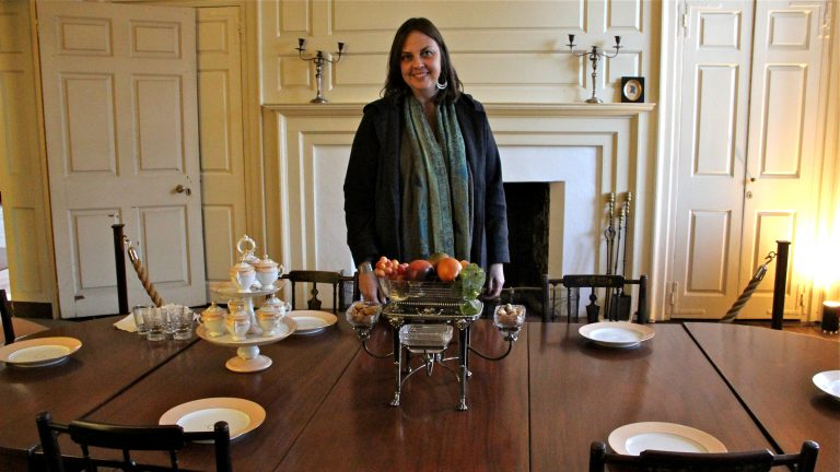 Kelley Deetz, a history professor at the University of Virginia, visits the historic Cliveden House in Philadelphia's Germantown. (Emma Lee/WHYY)