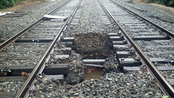 Damage along the Manayunk/Norristown Line, near Spring Mill Station. (Courtesy of SEPTA)