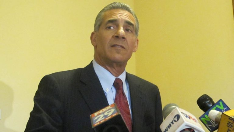 Assemblyman Jack Ciattarelli tells reporters at the New Jersey Statehouse that he's scaling back his campaign for governor because of side effects from radiation therapy. (Phil Gregory/WHYY)