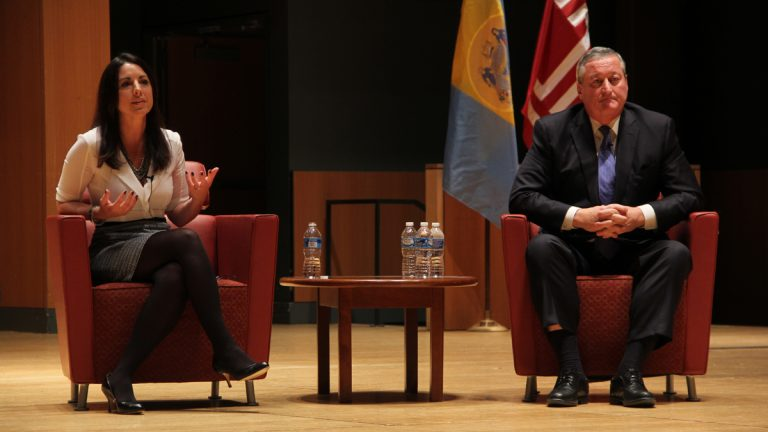 Philadelphia mayoral candidates Melissa Murray Bailey and Jim Kenney debate Monday night at Temple University. (Emma Lee/WHYY)