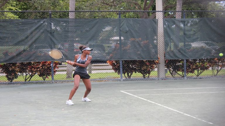 Toni-Ann Slaney on court at the ATA Tournament. (Courtesy of Legacy Youth Tennis and Education)