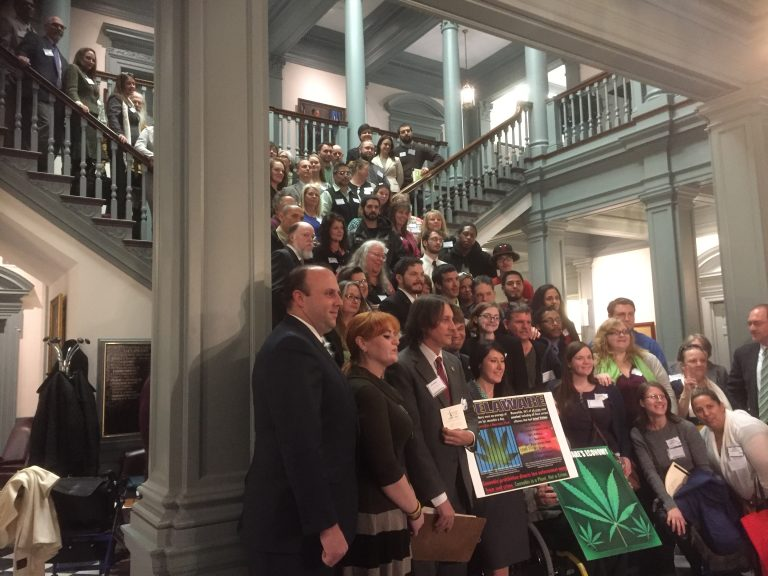 Advocates and Delaware residents posed for a photo before meeting legislators to discuss cannabis legislation. (Newsworks/Zoe Read)