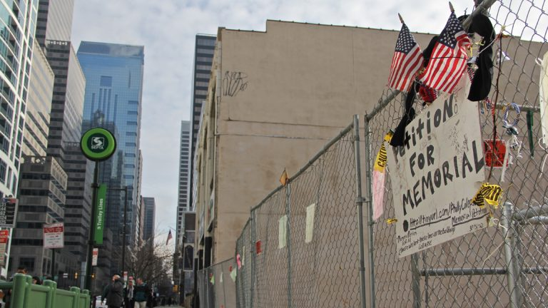 A memorial committee is seeking a park to honor the victims of the Salvation Army building collapse at 22nd and Market Streets. (Emma Lee/for NewsWorks)