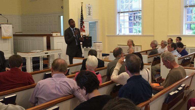 Doug Oliver at East Falls Presbyterian Church. (Brian Hickey/WHYY)