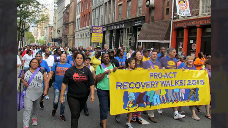 People marching in last year's Recovery Walk through Old City Philadelphia. (photo courtesy of PRO-ACT)