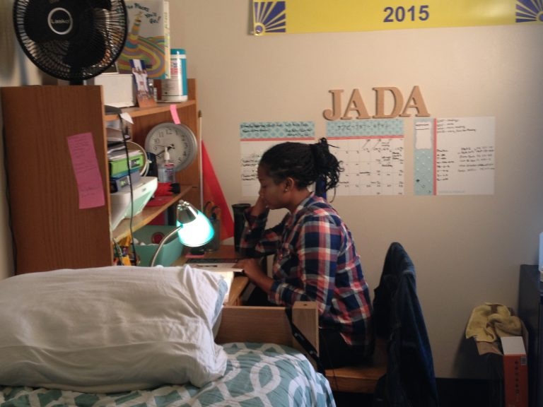 Swarthmore student Jada Smack studies in her dorm room. (Avi Wolfman-Arent, NewsWorks/WHYY)