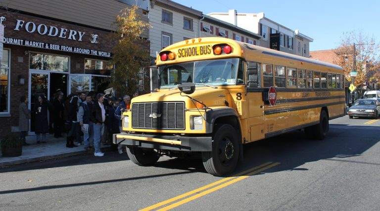 Roxborough resident John Boyce rented a bus to transport community members to Wednesday's meeting. (Matt Grady/for NewsWorks)