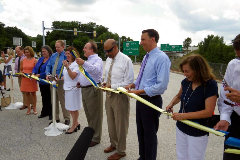 Chester County and state officials celebrate the newly-widened U.S. Route 202 with a ceremonial ribbon cutting. (Rob Zawatski)