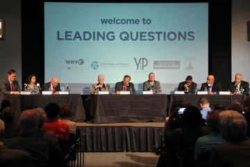 The six Democratic candidates for mayor attend a the WHYY Leading Questions Debate  (Emma Lee/WHYY)