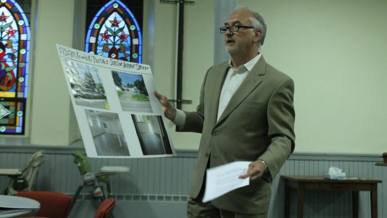 Paul T. Sosnowski, the representing lawyer for the Kowalski Post, at Monday night's meeting. (Matthew Grady/WHYY)