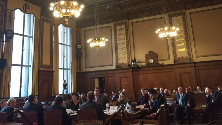Members of the House Urban Affairs Committee met in Pittsburgh with local Council members and other stakeholders to talk about municipal pensions. (Irina Zhorov/Keystone Crossroads)