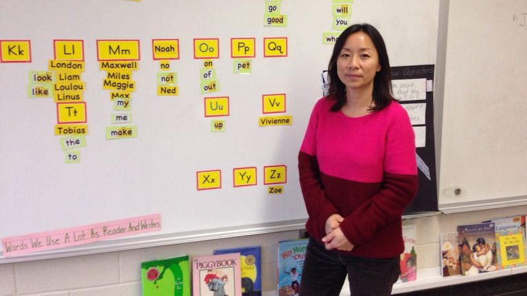 Claire Yoo in her classroom at Germantown Friends School. (Neema Roshania/WHYY)