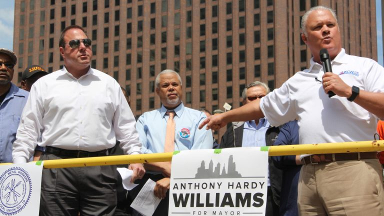 Labor supporters introduce mayoral candidate Anthony Hardy Williams at Thursday's rally in Love Park. (Emma Lee/WHYY)