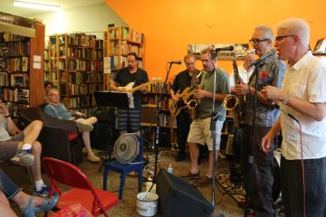 The Knights of Soul performed soul, jazz and funk at the Read & Eat, a local used bookstore & cafe (Natavan Werbock/for NewsWorks)