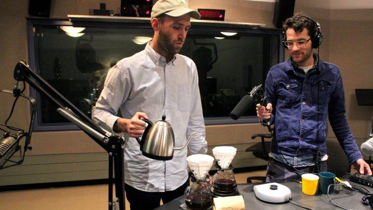 Reanimator Coffee Head Roaster Matt Scottoline brews up some decaf in The Pulse's studios