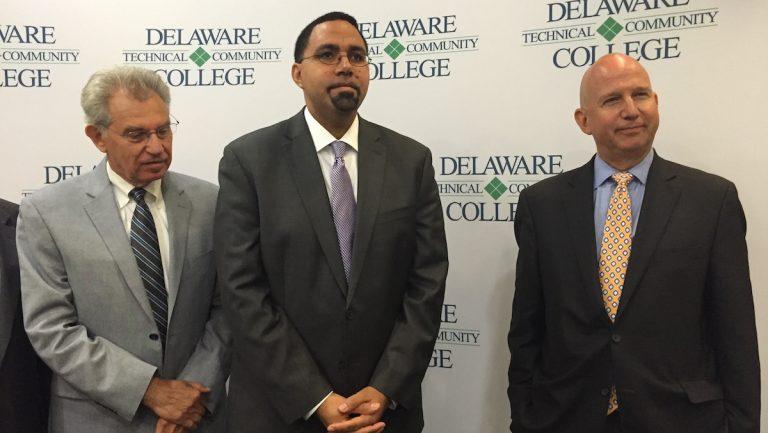(From left to right) Delaware Secretary of Education Steven Godowsky