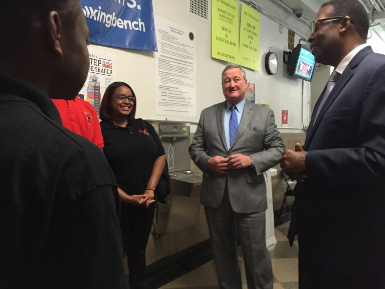 Mayor Jim Kenney and City Council President Darrell Clarke talk to students on first day of school. (Avi Wolfman-Arent/WHYY)