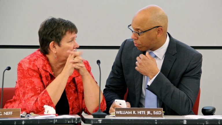 Superintendent William Hite confers with SRC Chairman Marjorie Neff during a previous charter school hearing (Emma Lee/WHYY)
