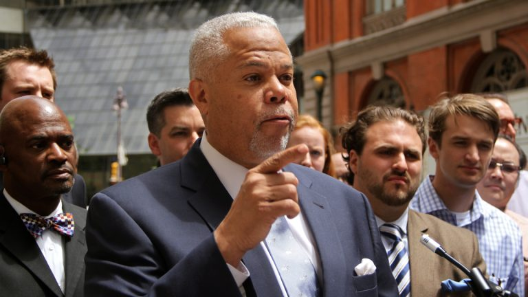Mayoral candidate Anthony Hardy Williams had some choice words about the perceived front runner during Friday afternoon's press conference near Broad and Locust sts. (Emma Lee/WHYY)