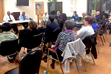 Residents gathered on Tuesday night to discuss the pit bulls. (John Corrigan/for NewsWorks)