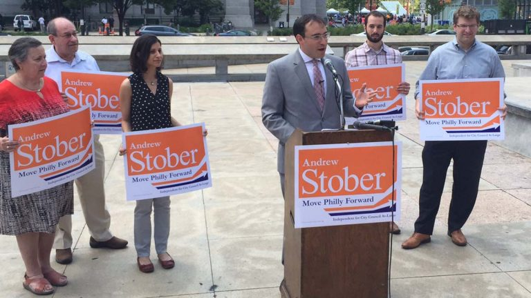 Andrew Stober announces his candidacy for Philadelphia City Council as an independent. (Kwame Miller/WHYY)