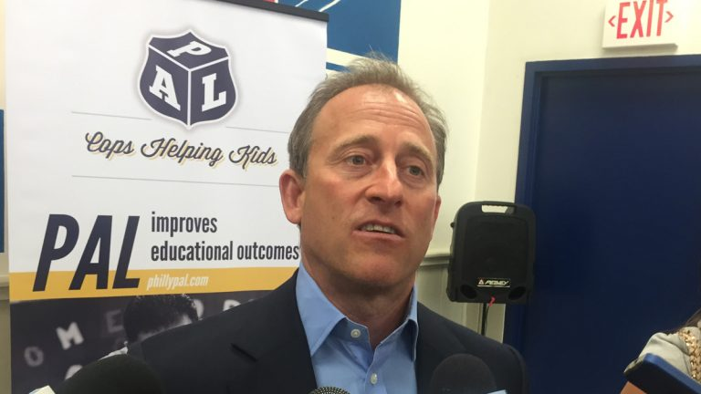Josh Harris, Wall Street investor and 76ers owner, talks about his reasons for donating $3.5 million to the Police Athletic League. (Bobby Allyn/WHYY)