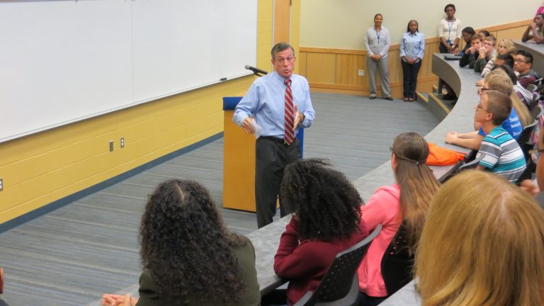 U.S. Congressman John Carney speaks to ninth- and tenth-graders at Dover High School. (Avi Wolfman-Arent, NewsWorks/WHYY)