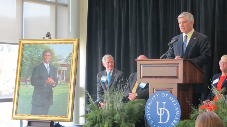 Former UD President Patrick Harker speaks Tuesday at a dedication ceremony.(Avi Wolfman-Arent/WHYY)