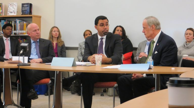 (From left to right) Governor Jack Markell, Acting U.S. Secretary of Education John King, and U.S. Senator Tom Carper talk testing at a Thursday event in downtown Wilmington.(Avi Wolfman-Arendt/WHYY)
