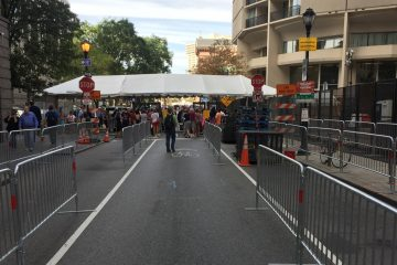 Barricades are in place in Center City. (Bobby Allyn/WHYY)