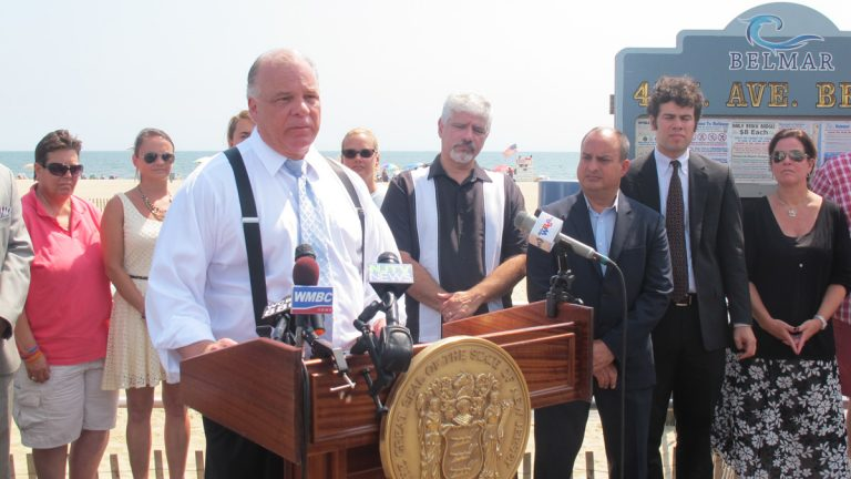 New Jersey Senate President Sweeney, Sandy victims, and housing recovery advocates gather at a news conference on the boardwalk in Belmar. (Phil Gregory/WHYY) (photo by Phil Gregory)