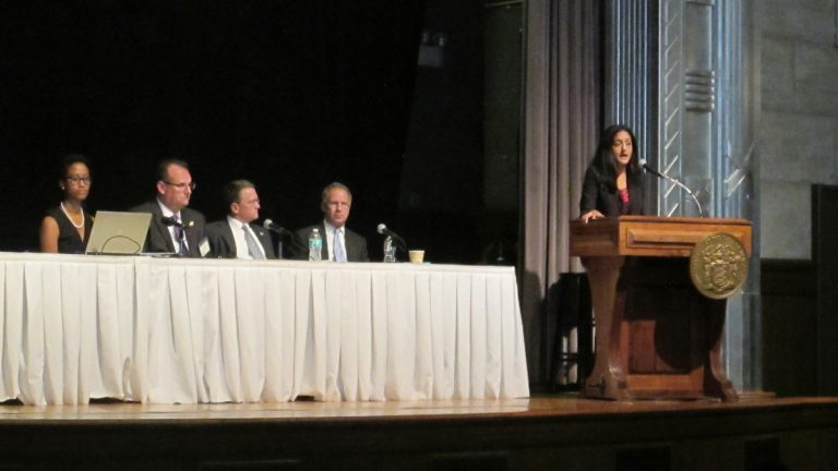 Vinita Gupta, the Justice Department's top civil rights prosecutor, gives the keynote speech at a police-community relations summit in Trenton Wednesday. (Phil Gregory/WHYY)