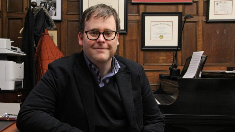 Curtis Institute Professor David Ludwig talks about the score he wrote for a new film adaptation of William Shakespeare's 'Cymbeline.' (Emma Lee/WHYY)