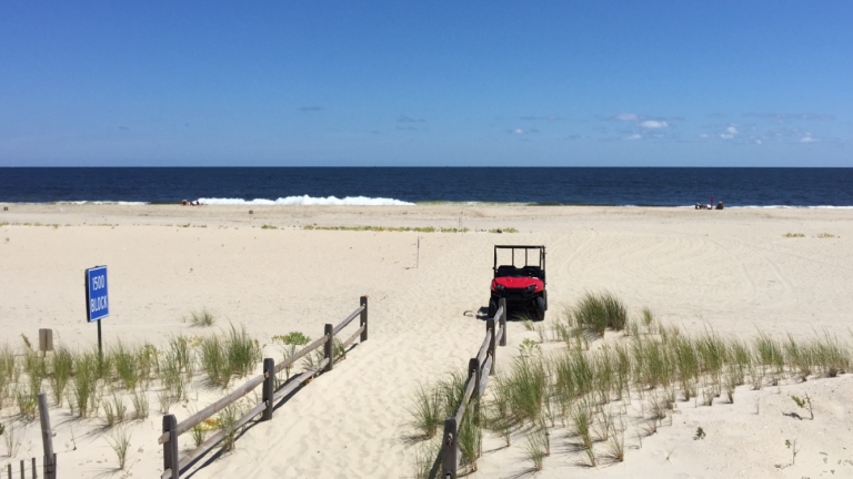 A beach in the southern end of Sea Bright on Aug. 10, 2015. (Photo: Justin Auciello/for NewsWorks)