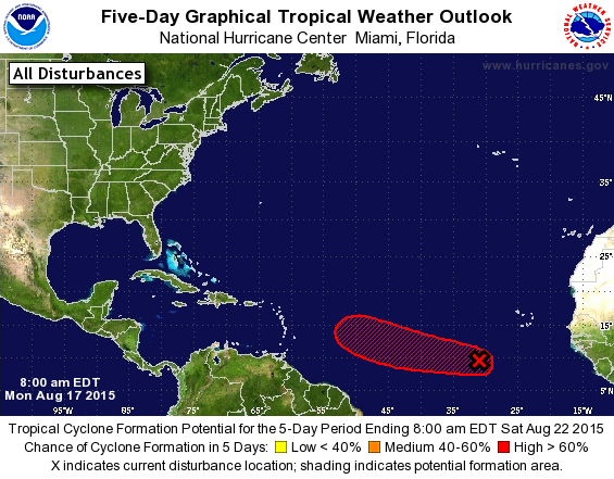 A National Hurricane Center graphic issued this morning indicates the forecast track of a a disturbance (
