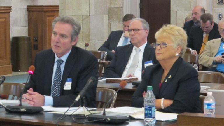 Northstar's Russell Knapp and New Jersey Lottery Executive Director Carole Hedinger testify at a Senate Legislative Oversight Committee hearing Tuesday. (Phil Gregory/WHYY)