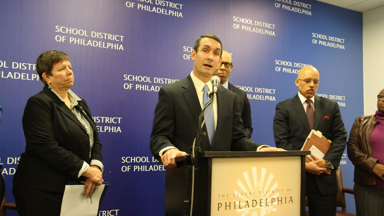 Pennsylvania Auditor General Eugene DePasquale criticizes the state charter law at a news conference at School District of Philadelphia headquarters. (Kevin McCorry / WHYY)