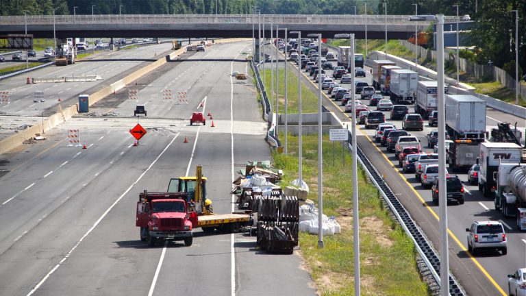 New northbound lanes on the New Jersey Turnpike between Interchanges 6 and 9 will open Sunday, and extra southbound lanes will open next week. (Emma Lee/WHYY)