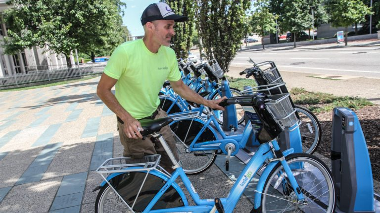 Tray Duffy is part of the IndeGo rebalancing fleet. (Kimberly Paynter/WHYY)