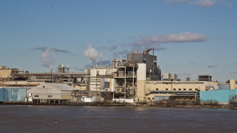 Industry on the Delaware River near the Commodore Barry Bridge in Pennsylvania (Kimberly Paynter/WHYY)
