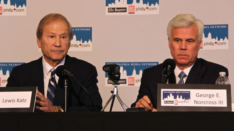Lewis Katz (left) and George Norcross announce their purchase of the Philadelphia Inquirer and Daily News last year. (Emma Lee/for NewsWorks)