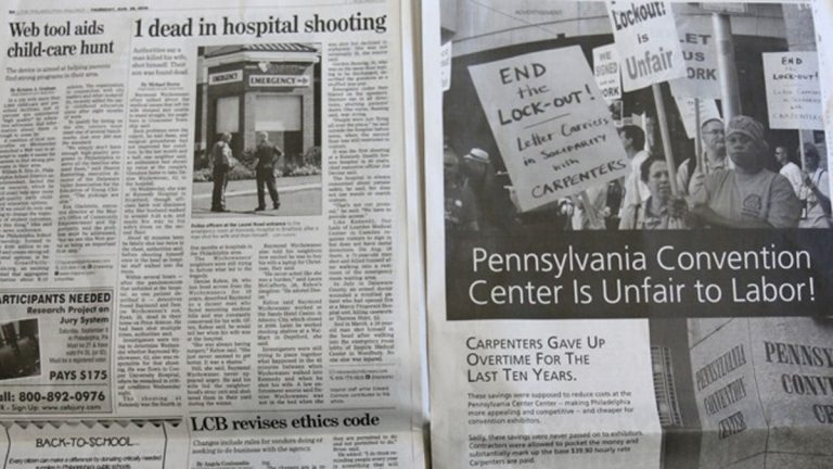 A full-page advertisement in the Philadelphia Inquirer paid for by Carpenters PAC of Philadelphia and Vicinity calls for an end to a 'lockout' at the Pennsylvania Convention Center.