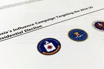 A part of the declassified version of the Intelligence Community Assessment on Russia's efforts to interfere with the U.S. political process is photographed in Washington