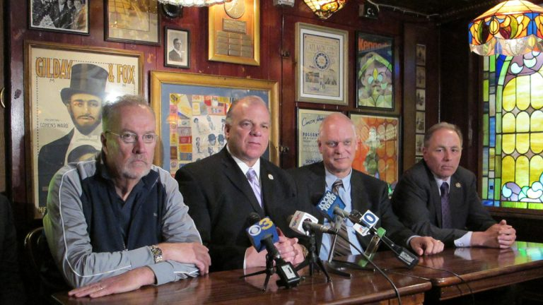 At a news conference at the Irish Pub in Atlantic City, Sen. Jim Whelan, Senate President Steve Sweeney, Atlantic City Mayor Don Guardian, and Assemblyman Vince Mazzeo says legalized sports betting would help the city and state economy. (Phil Gregory/for NewsWorks)