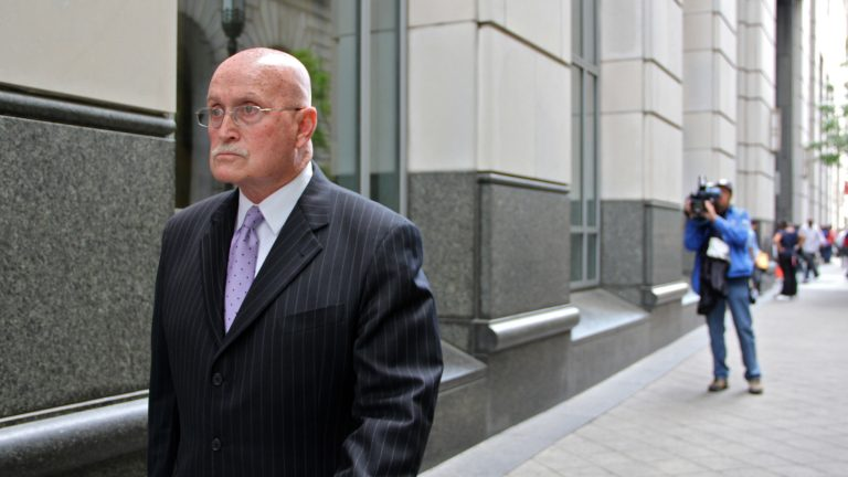 Defense attorney Jack McMahon leaves the Philadelphia Criminal Justice Center. (Emma Lee/WHYY file photo)
