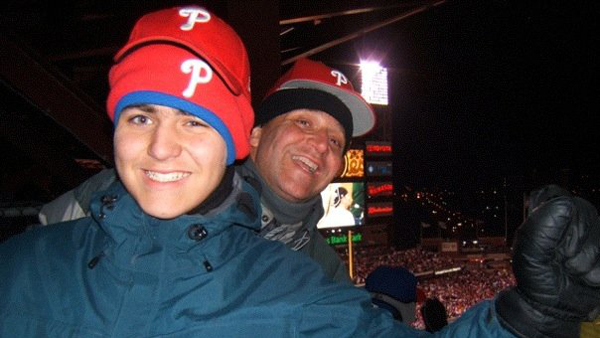 The author with son Jacob at part two of the  final game of the 2008 World Series. (Photo courtesy of the fan in the next seat.)
