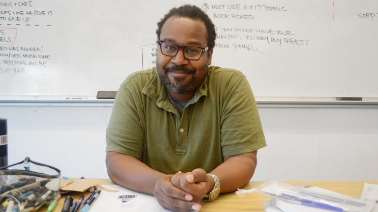 Jamar Nicholas in his classroom at Moore College of Art.  (Maanvi Singh/NewsWorks)