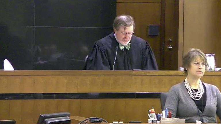 This still image taken from United States Courts shows Judge James Robart listening to a case at Seattle Courthouse on March 12