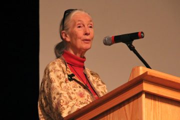 Renowned scientist Jane Goodall speaks at the Agnes Irwin School in Rosemont, Pa. (Emma Lee/WHYY)